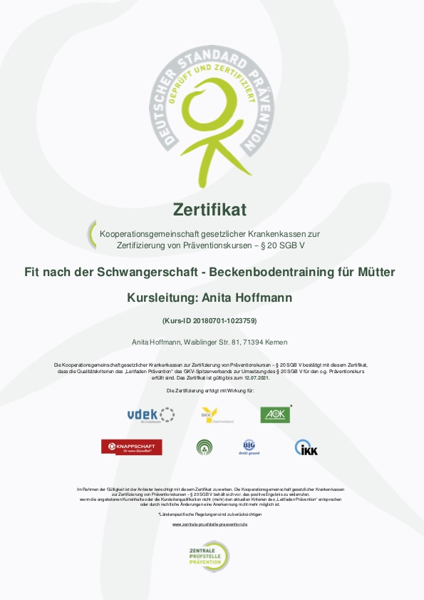 Präventionskurse, Kernen, Gesunde Kurse, Anita Hoffmann