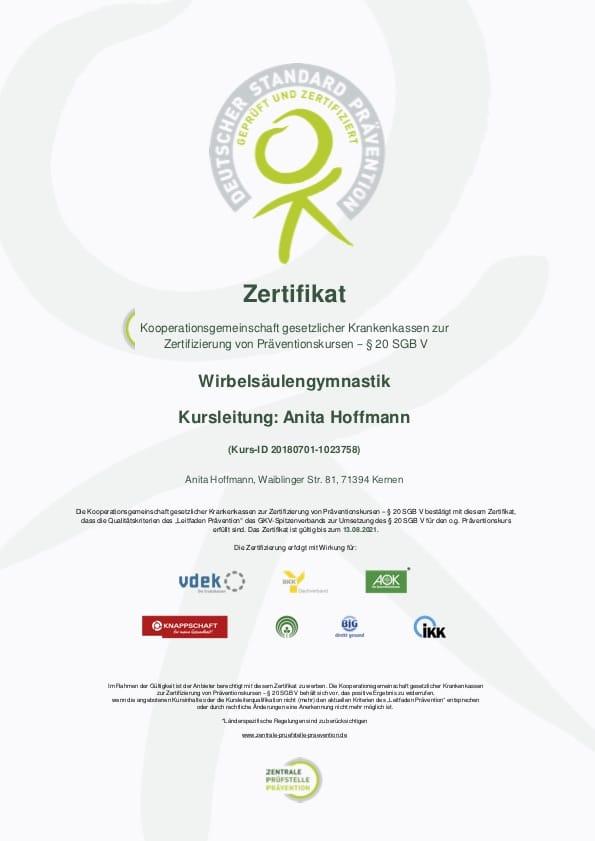 Präventionskurse, Kernen, Gesunde Kurse, Anita Hoffmann, Wirbelsäulengymnastik Rems-Murr-kreis